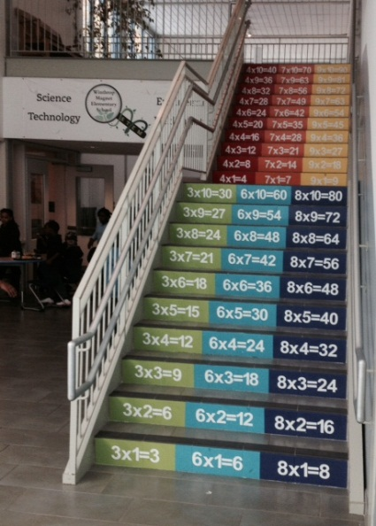 stairs with math facts printed on the risers